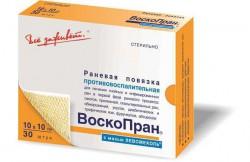 Повязка раневая, Воскопран р. 10смх10см №30 Лм с мазью левомеколь